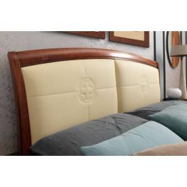 Кровать с кожаным изголовьем без изножья Palazzo Ducale Ciliegio Prama 160 см