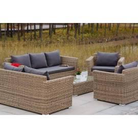 Лаунж-зона 4SIS Капучино Дабл соломенного цвета с плетеным столом, креслами и двумя диванами