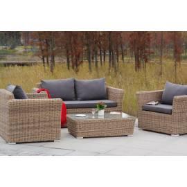 Лаунж-зона 4SIS Капучино Сингл соломенного цвета с плетеным столом, креслами и диваном
