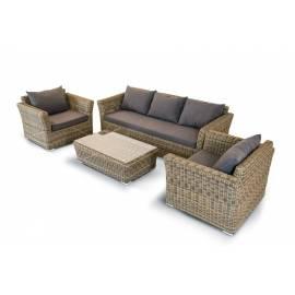 Лаунж-зона 4SIS Капучино соломенного цвета с плетеным столом, креслами и диваном