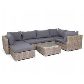 Лаунж-зона 4SIS Лунго с плетёными диваном, оттоманкой и столиком соломенного цвета
