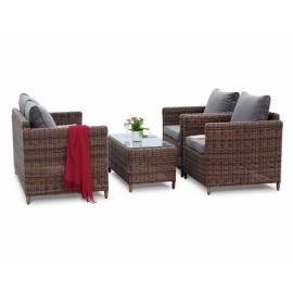 Лаунж-зона 4SIS Макиато коричневая плетёная с диванами, креслами и столиком