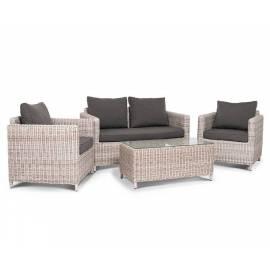 Лаунж зона 4SIS Макиато Бьянко бежевая плетёная с диваном, креслами и столиком