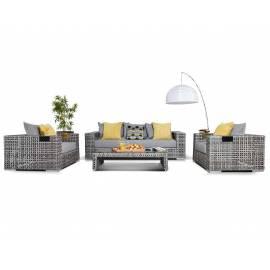 Лаунж-зона 4SIS Тито серая плоское плетение с диваном, креслами и столиком