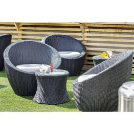 Лаунж-зона 4SIS Туллон черная плетёная с двумя креслами и столиком