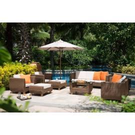 Лаунж-зона 4SIS Нола темно-коричневая с плетёными диваном, креслами и столиком