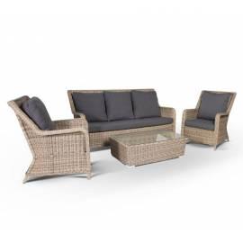Лаунж-зона 4SIS Гляссе соломенного цвета с плетеным столом, креслами и диваном