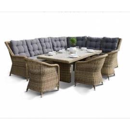 Лаунж-зона 4SIS Базелла с плетёными угловым диваном, креслами и столом соломенного цвета