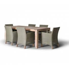 Обеденная группа 4SIS Пестум оливковые плетёные кресла с тиковым столом