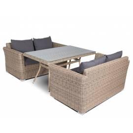 Обеденная группа 4SIS Мокко с двухместными плетёными диванами соломенного цвета