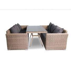 Обеденная группа 4SIS Мокко Дабл с трёхместными плетёными диванами соломенного цвета