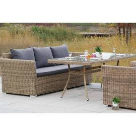 Обеденная группа 4SIS Моккачино с плетёными трехместным диваном и креслами соломенного цвета