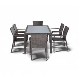 Обеденная группа 4SIS Милан серо-коричневый плетёный стол, шесть стульев