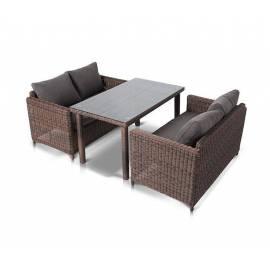 Обеденная группа 4SIS Макиато Дабл плетёная с темно-коричневыми диванами