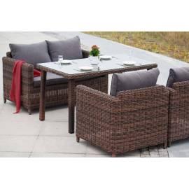 Обеденная группа 4SIS Макиато плетёная с темно-коричневыми диваном и креслами
