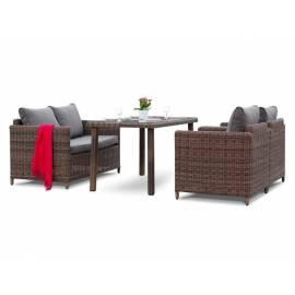 Плетёная обеденная группа 4SIS Макиато с темно-коричневыми диваном и креслами