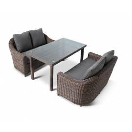 Плетёная обеденная группа 4SIS Кон Панна Дабл темно-коричневая с диванами и столом
