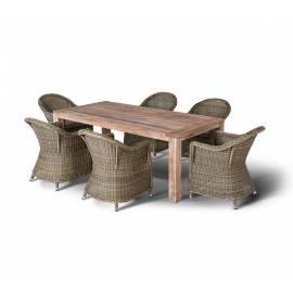 Обеденная группа 4SIS Арбаро соломенного цвета плетёная с тиковым столом