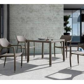 Плетёный обеденный стол 90х90 4SIS Бари серо-коричневый