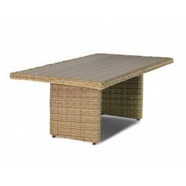 Плетёный обеденный стол 180х100 4SIS Бергамо соломенного цвета