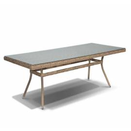 Плетёный обеденный стол 200х90 4SIS Латте со стеклом соломенного цвета