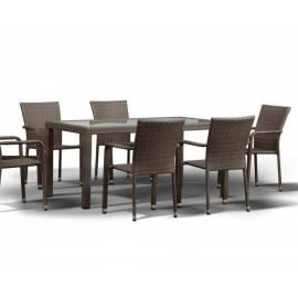 Плетёный обеденный стол 150х90 4SIS Милан серо-коричневого цвета