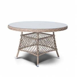 Плетёный обеденный стол 120 см 4SIS Эспрессо круглый, соломенного цвета