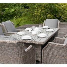 Плетёный обеденный стол 200х100 4SIS Цесена, серо-коричневый