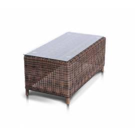 Плетёный журнальный столик 4SIS Макиато со стеклом, темно-коричневый