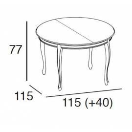 Стол обеденный 115/155 Panamar, круглый раздвижной 402.115.P